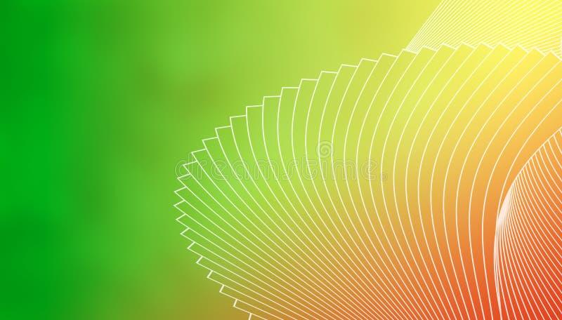 Geometryczny elegancki tło białe linie na zielenieje zieleni, koloru żółtego, czerwieni i pomarańcze tło, ilustracji