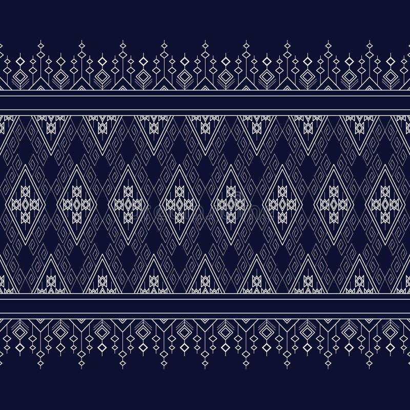 Geometryczny Etniczny wzór na zmroku - błękit fotografia royalty free