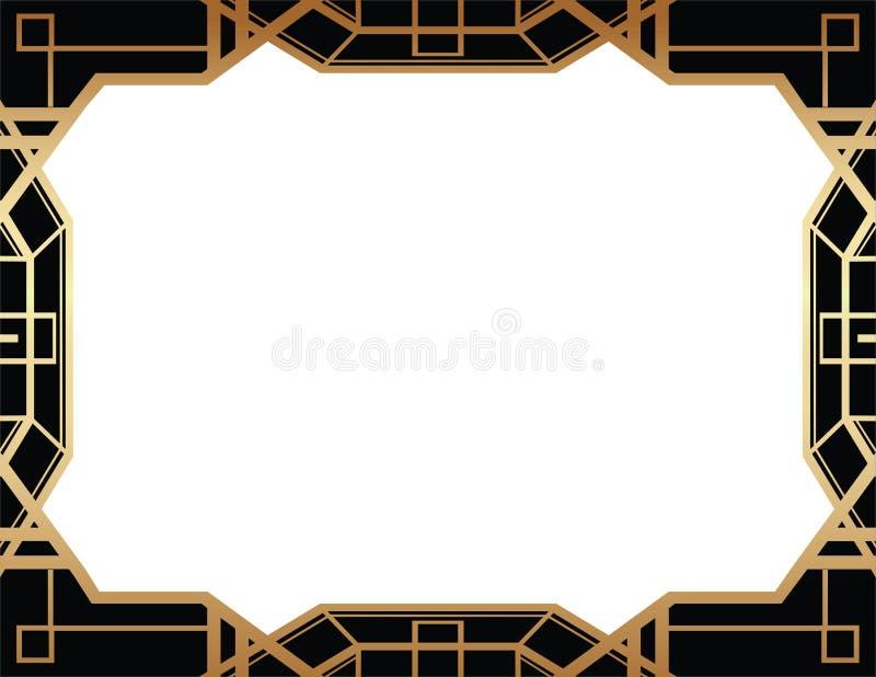 Geometryczny Gatsby art deco stylu granicy ramy projekt ilustracji