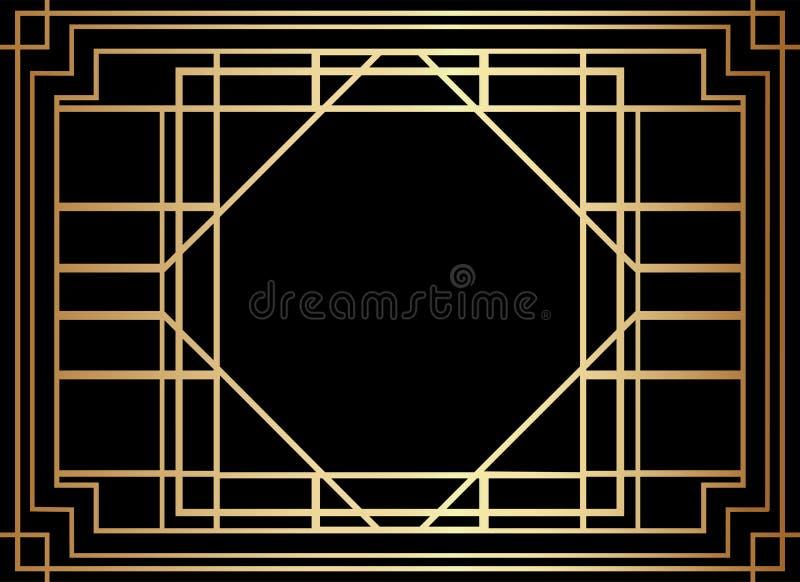 Geometryczny Gatsby art deco stylu granicy ramy projekt royalty ilustracja