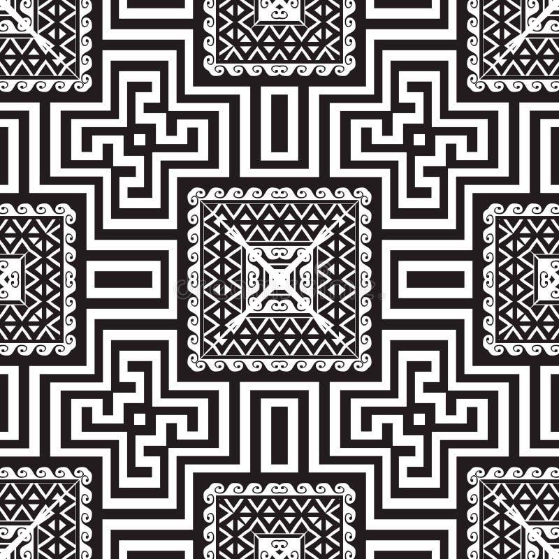 Geometryczny grecki wektorowy bezszwowy wz?r Ornamentacyjny czarny i biały plemienny tło Geometrii powt?rki w kratk? t?o greeley royalty ilustracja