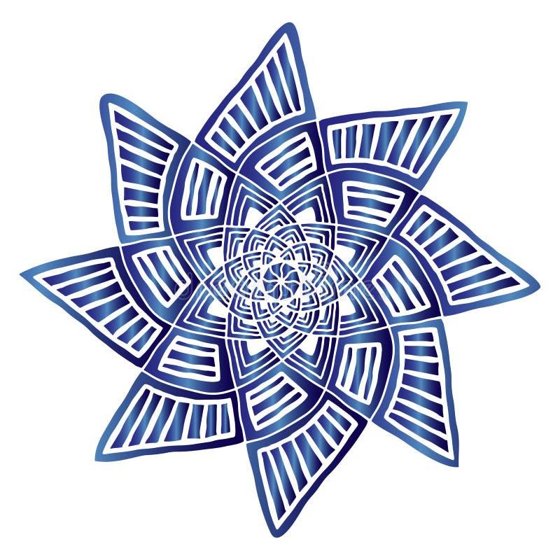 Geometryczny gwiazdowy mandala Dywanowy ornamentu wzór Wewnętrzny mandala druk Mistyczny dekoracyjny element Gwiazdowy logo w błę ilustracji