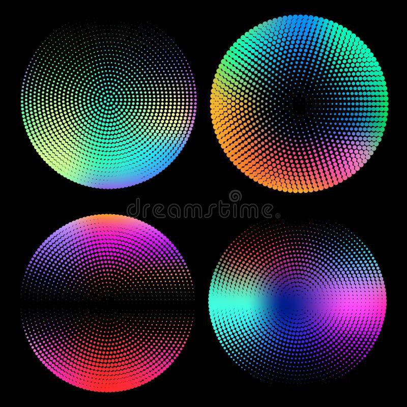 Geometryczny halftone okrąg ustawiający z holograficznymi gradientami Minimalni projektów tła Holograficzni kształty wektor royalty ilustracja