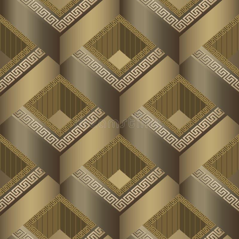 Geometryczny kafelkowy 3d grecki wektorowy bezszwowy wzór Nawierzchniowy abstra royalty ilustracja