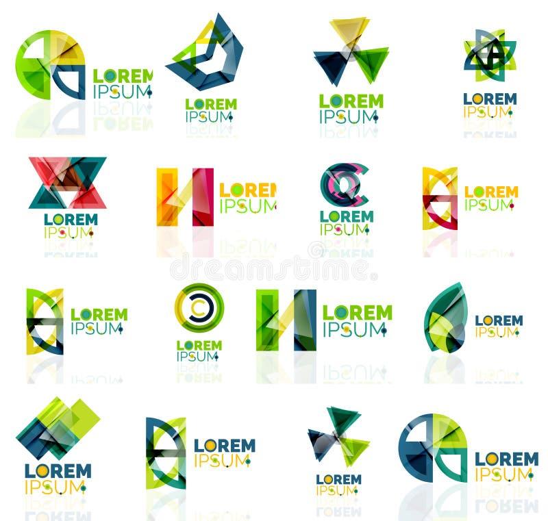 Geometryczny kształt firmy loga set, papierowy origami royalty ilustracja