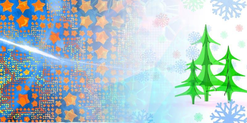 geometryczny kwadratowy abstrakcjonistyczny tło z choinka płatkami śniegu i gwiazdami 3d ilustracja z copyspace ilustracja wektor