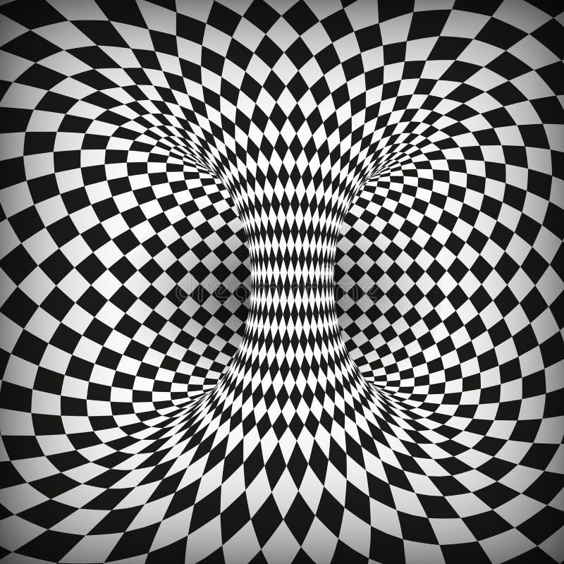 Geometryczny Kwadratowy Czarny I Biały Okulistyczny złudzenie Abstrakcjonistyczny wormhole tunel Zniekształca przestrzeń i czas r ilustracja wektor