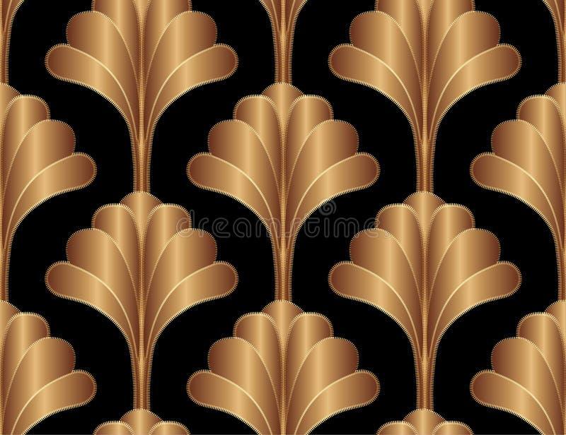 Geometryczny Kwiecisty Gatsby art deco tła Bezszwowy Deseniowy projekt Rocznik Stylowa Dekoracyjna tekstura royalty ilustracja