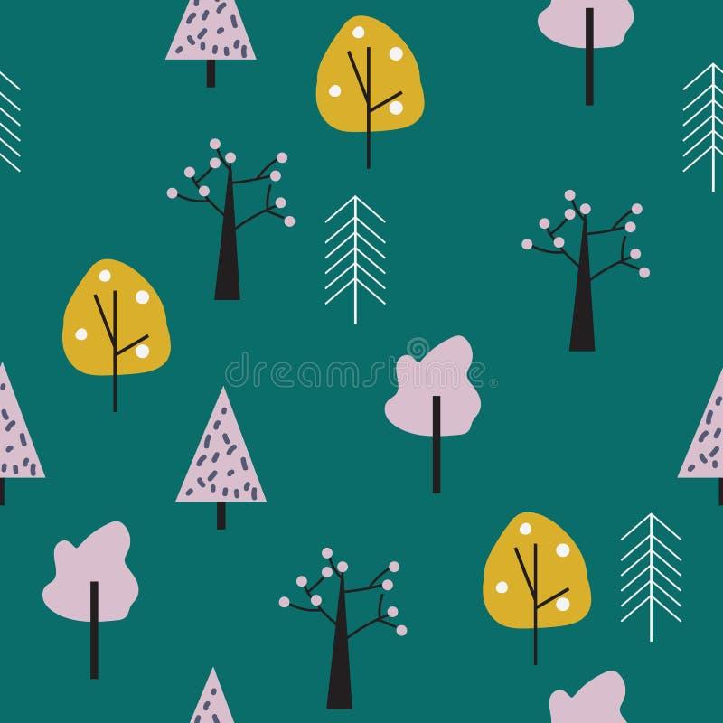 Geometryczny lasowy bezszwowy wzór royalty ilustracja