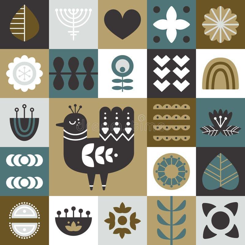 Geometryczny ludowej sztuki tło Bezszwowy wzór z ptasimi i dekoracyjnymi elementami ilustracja wektor