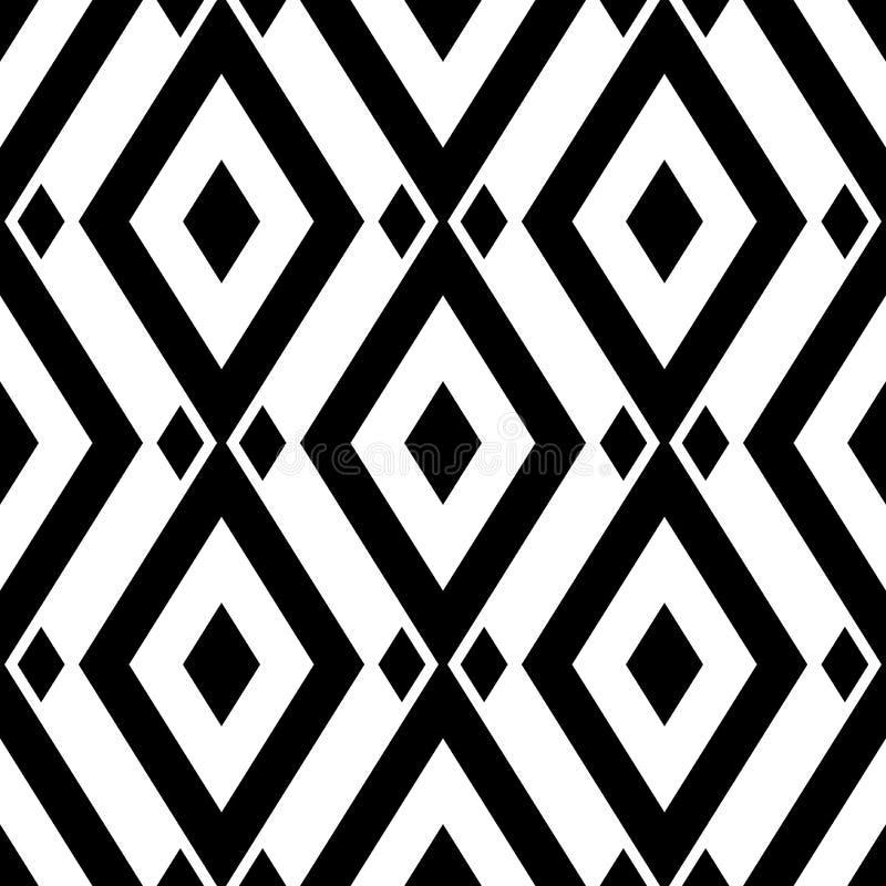 Geometryczny monochromatyczny tło white bezszwowy czarny wzoru royalty ilustracja