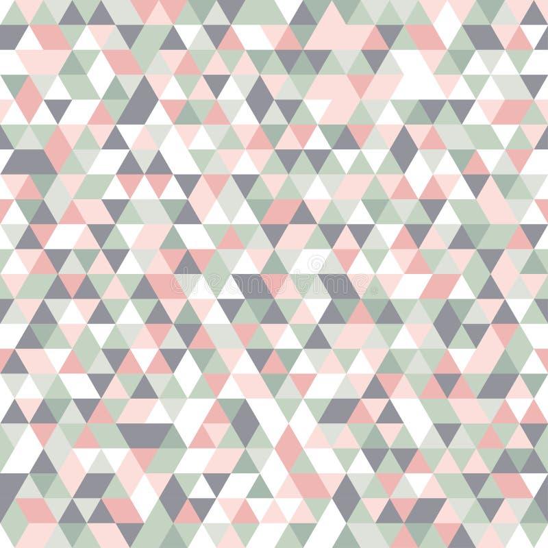 Geometryczny mozaika wzoru pastelowych kolorów menchii popielatego bielu zieleni trójbok royalty ilustracja