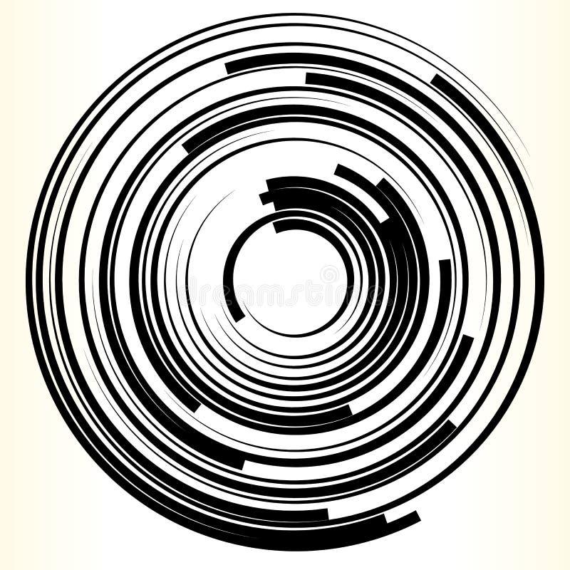 Geometryczny okręgu element Abstrakcjonistyczny monochromatyczny okręgu kształt ilustracja wektor