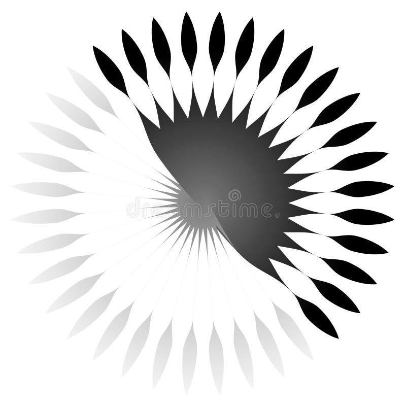 Geometryczny okręgu element promieniowe linie Pękać linii wcielać royalty ilustracja