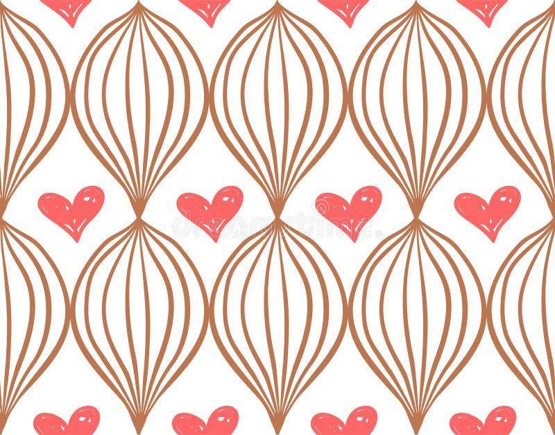 Geometryczny prosty sketh rysujący ręka bezszwowy wzór z czerwonymi sercami Dla tapet, sieci tło, tkanina, zawija ilustracji