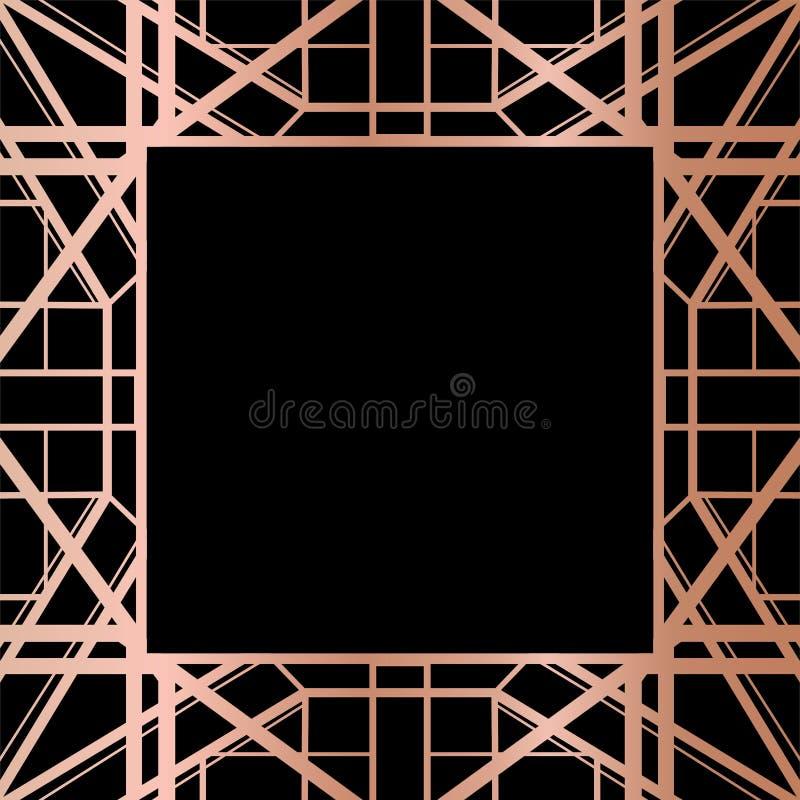 Geometryczny Różany Złocisty Gatsby art deco stylu ramy projekt royalty ilustracja