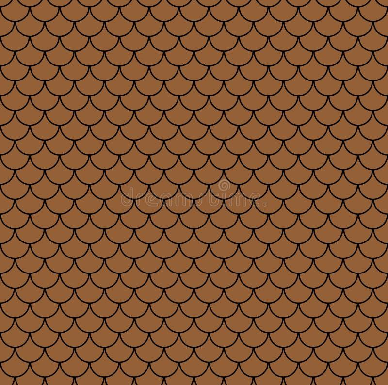 Geometryczny rybi waży chińskiego bezszwowego wzór Falisty dachowej płytki tło dla projekta Nowożytna wielostrzałowa elegancka te royalty ilustracja