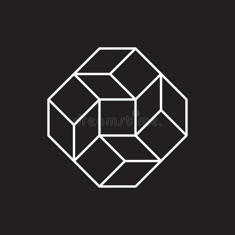 Geometryczny symbol, kwadrat, kreskowy projekt royalty ilustracja
