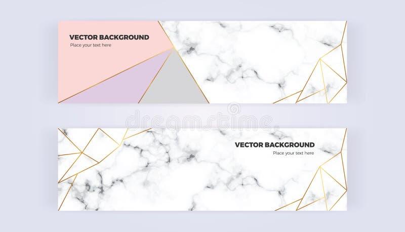 Geometryczny sztandar z kolorami i marmurowym tekstury tłem złoto linii, popielatych, pastelowych, Szablon dla projektów, karta,  ilustracji
