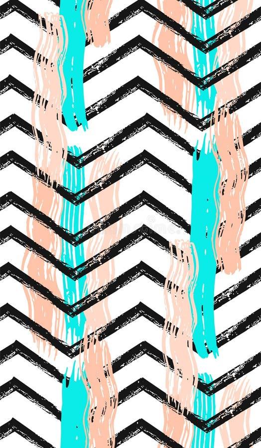 Geometryczny sztuka druk, abstrakcjonistyczny projekt, nowożytny i modny, minimalistic niezwykły północny ogólnoludzki bezszwowy  ilustracji