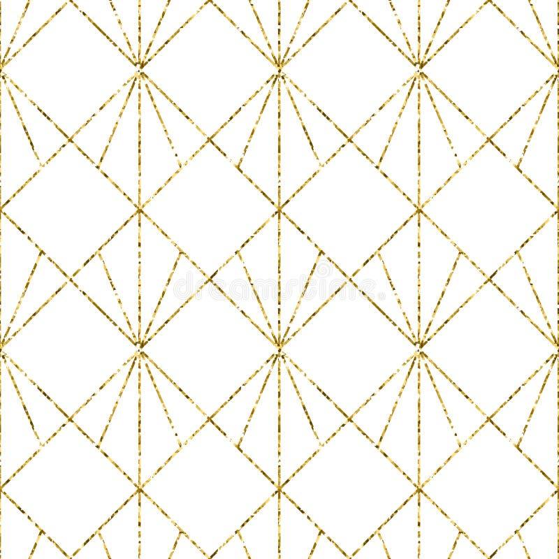 Geometryczny tło z rhombus abstrakcyjny geometryczny wzór struktura złota Wektorowy bezszwowy geometryczny wzór ilustracja wektor