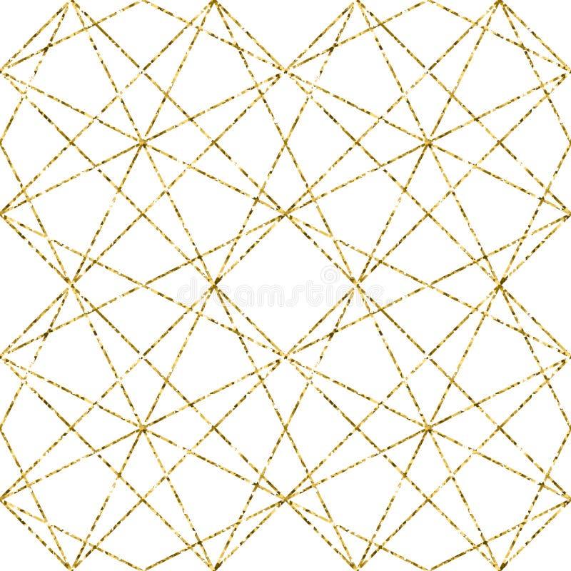 Geometryczny tło z rhombus abstrakta schematu struktura złota Wektorowy bezszwowy geometryczny wzór ilustracji