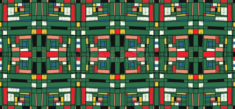 Geometryczny tło w Mondrian siatki stylu Wystrzał sztuki wzór Bezszwowy ornament z abstrakcjonistycznymi kwadratami royalty ilustracja