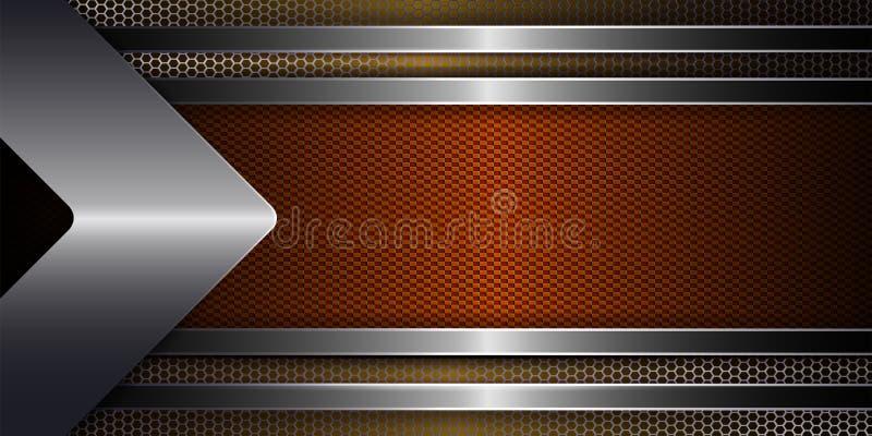 Geometryczny tło z grille, strzała i ramą pomarańczowy cień z błyszczącym obdzierganiem metalu, royalty ilustracja