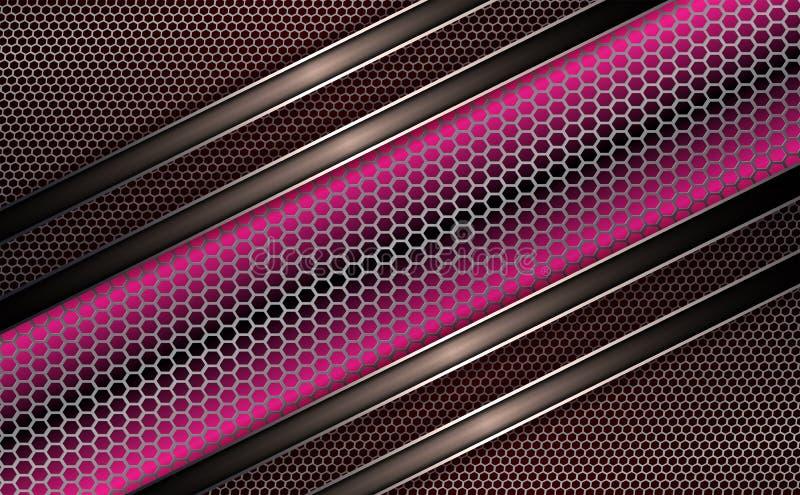 Geometryczny tło z metalu grille różowy odcień ilustracji
