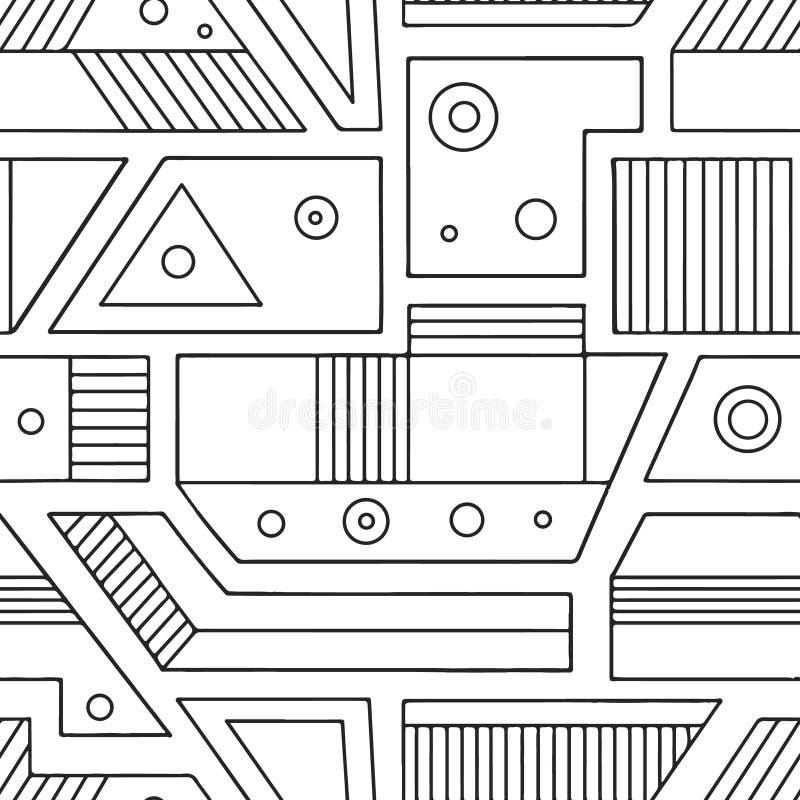 Geometryczny wektorowy bezszwowy wzór z różnymi geometrical formami Kwadrat, trójbok, prostokąt, kropki, okręgi Nowożytny techno  ilustracja wektor