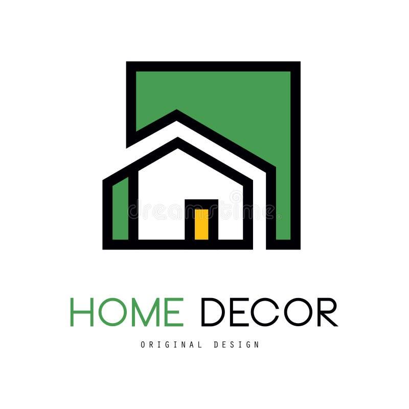 Geometryczny wektorowy logo z abstrakcjonistycznym budynkiem Oryginalny liniowy emblemat dla wewnętrznego projekta i dom dekoruje royalty ilustracja