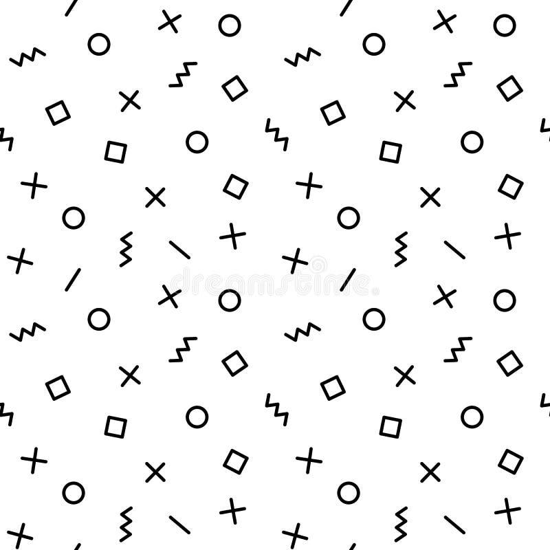 Geometryczny wektoru wzór z elementami w czarny i biały Prostokąt, zygzag, linia, okrąg w Memphis stylu, modniś ilustracja wektor