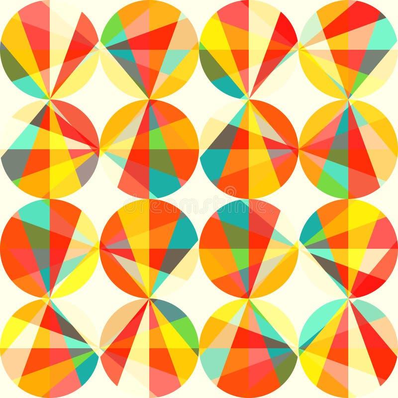 geometryczny wzór okręgi i trójboki. Barwiony okręgu szew ilustracja wektor