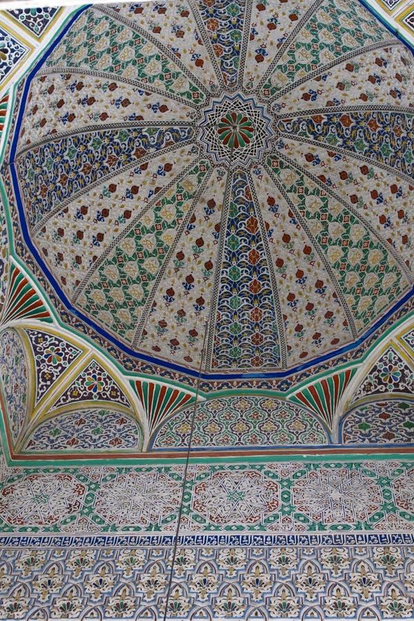 Geometryczny wzór, płytki w meczecie, Fes, Maroko fotografia stock