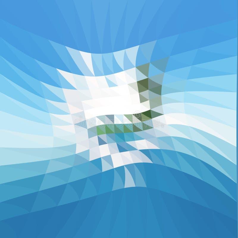 Geometryczny wzór, wieloboków trójboków wektorowy tło w zieleni i błękitów brzmienia, ilustracja wektor