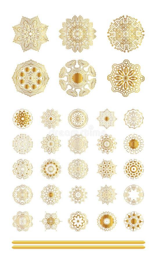 Geometryczny złocisty mandala ilustracja wektor