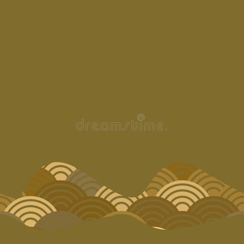 Geometrycznych abstrakcjonistycznych skal natury prosty tło z japończyk fali okręgu wzoru Brown szarych pomarańczowych kolorów sz royalty ilustracja