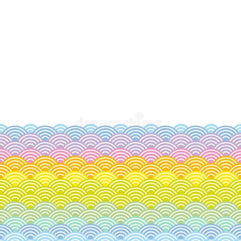 Geometrycznych abstrakcjonistycznych skal natury tęczy prosty tło z azjata fali okręgu wzoru zieleni pomarańcze żółtych menchii p royalty ilustracja