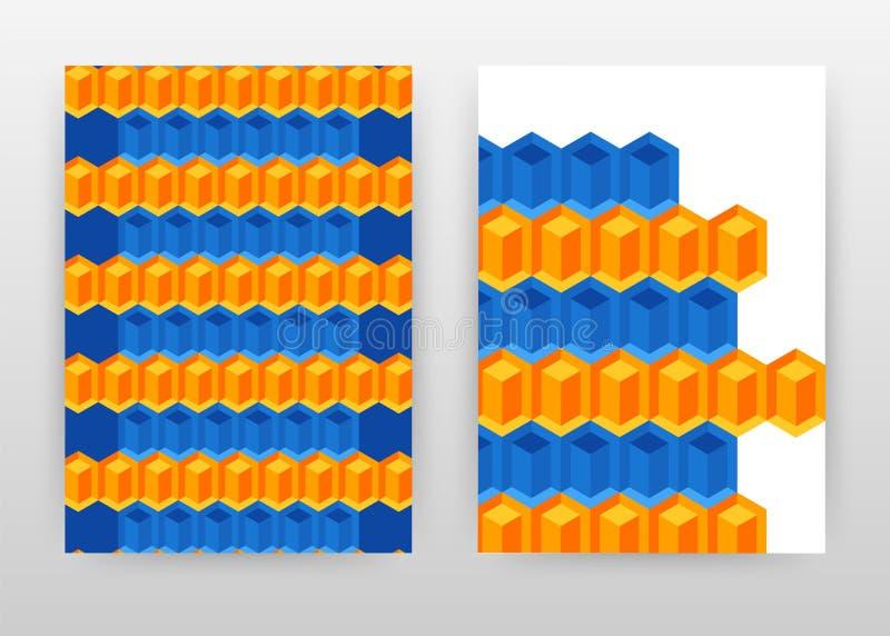 Geometrycznych błękitnych pomarańczowych sześcianów biznesowy projekt dla sprawozdania rocznego, broszurka, ulotka, plakat Geomet ilustracja wektor