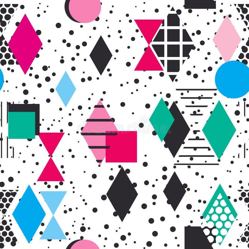 Geometrycznych elementów Memphis mody Postmodern Retro styl 80-90s tekstura kształtów Rhombus asymmetrical trójboka Bezszwowy wzó ilustracja wektor