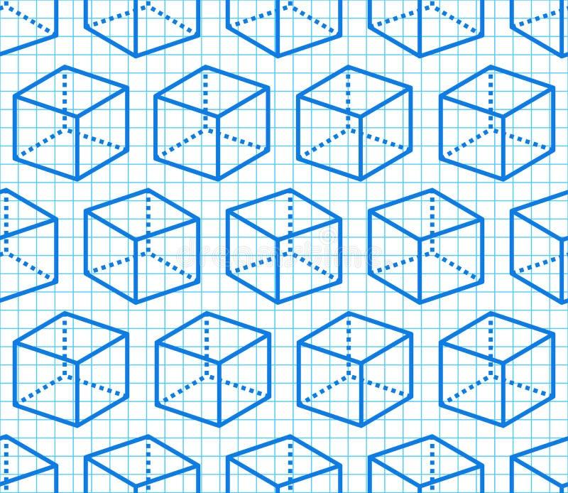 Geometrycznych kształtów bezszwowy wzór z mieszkanie linii ikonami sześcian postać na błękitnym siatka notatniku nowoczesne abstr ilustracji
