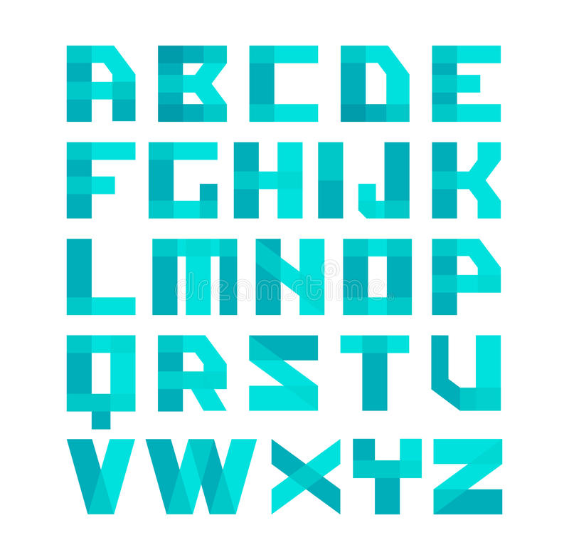 Geometrycznych kształtów chrzcielnicy błękitny abecadło Narzuta stylu przejrzyści listy Łatwa koloru odcienia zdolność royalty ilustracja