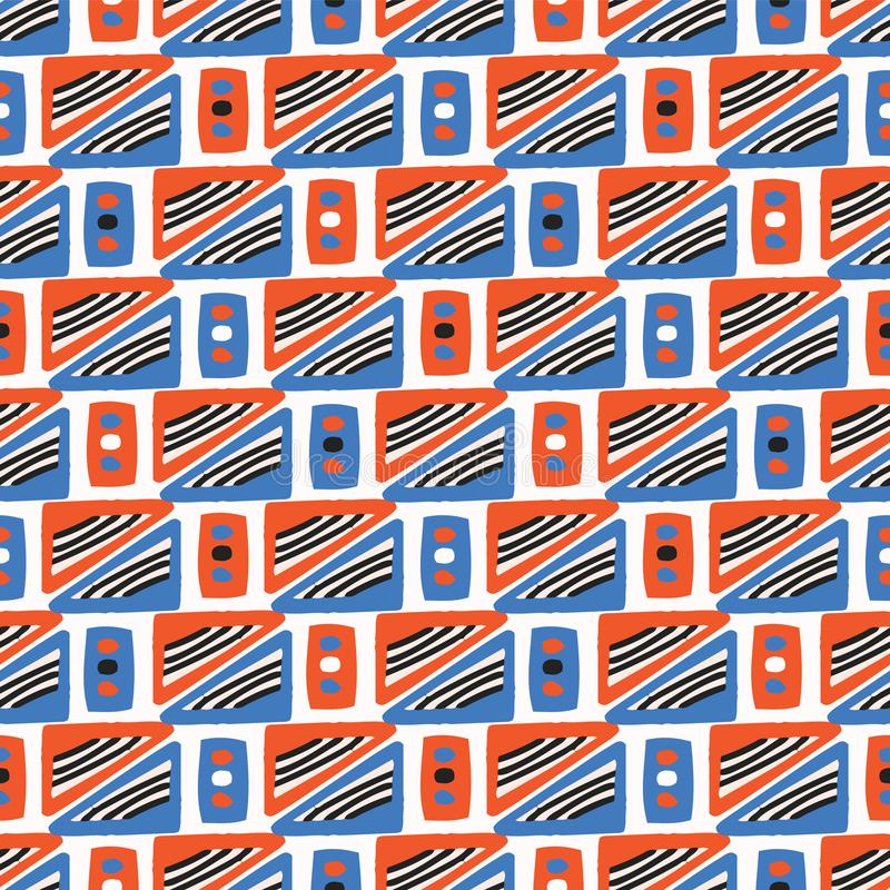 Geometrycznych kwadratów wektoru wzoru Bezszwowa pomarańcze i błękit royalty ilustracja
