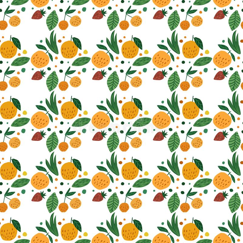 Geometrycznych owoc bezszwowy wzór Śmieszny ogrodowy owocowy tło ilustracji