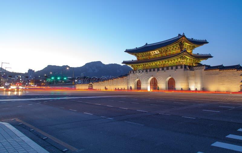 Geongbokgung slott seoul Korea royaltyfri foto