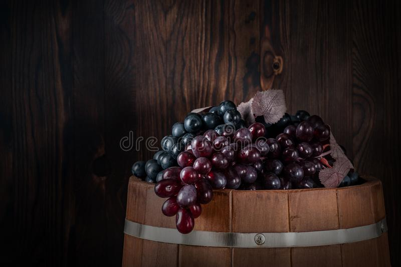 Geoogste rode druiven in een kelder op een vat stock afbeelding