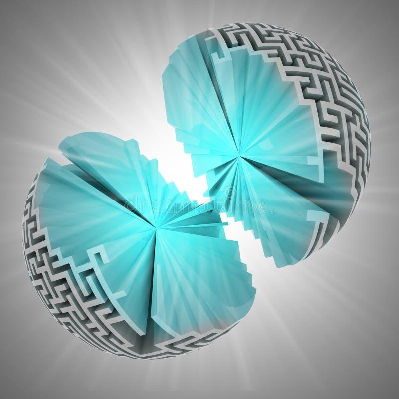 Geopenbaarde blauwe kern van labyrintgebied met gloed vector illustratie