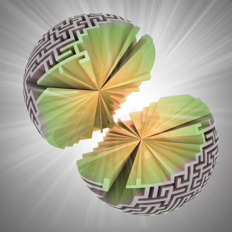 Geopenbaarde kern van labyrintgebied met gloed royalty-vrije illustratie