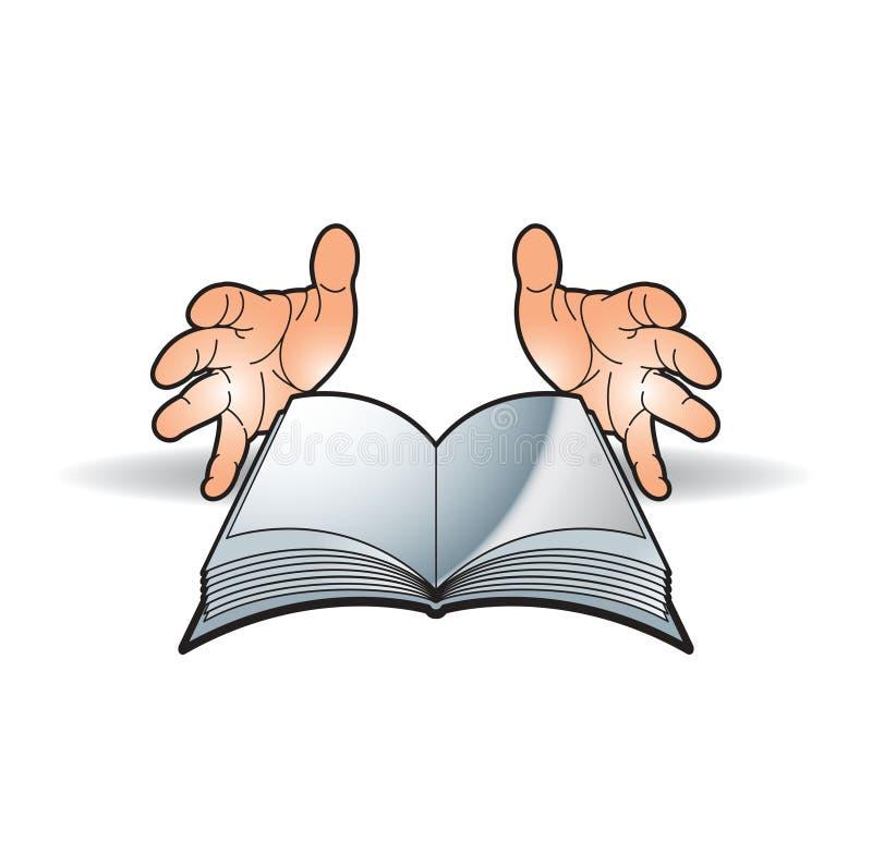 Geopend boek en twee handen op vlotte schaduw royalty-vrije illustratie