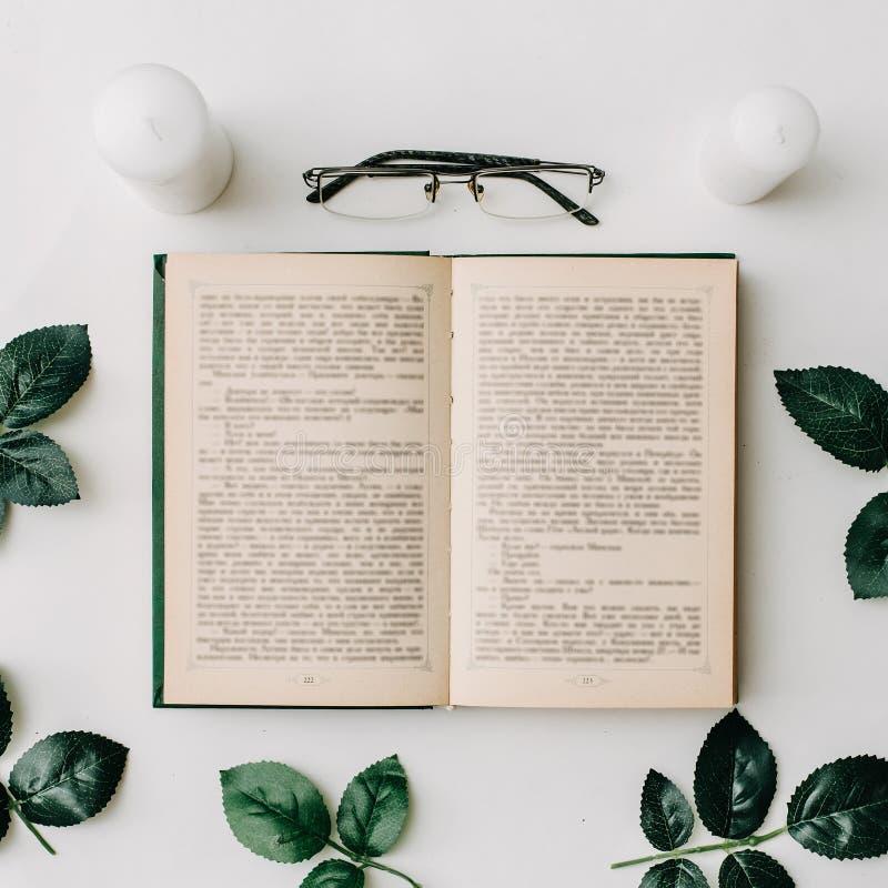 Geopend boek, glazen, groene bladeren op witte achtergrond Vlak leg stock foto's